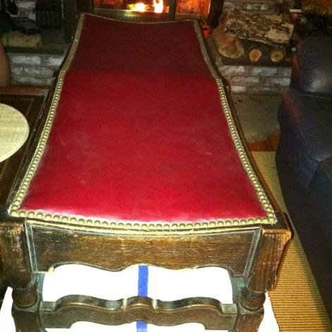 leather nail hammered bench $185