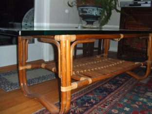 glass bamboo coffee table $400