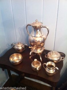 7 piece Antique Wilcox Meriden Silverplate Tea Set Quadruple Plate 1800's $450 view 2