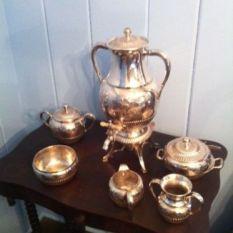7 piece Antique Wilcox Meriden Silverplate Tea Set Quadruple Plate 1800's $450 view 2