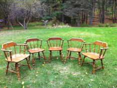"""Ethan Allan by Baumwritter made in VT each stamped and numbered. Total five chairs 3 chairs with 6 spindles, seat size 17 x 17 2 arm chairs, with 8 spindles, seat size 21 x 18 All five seats: 17"""" high, back of chair 31"""" high Three of five chairs have upgrade feature of swivel casters., $300"""
