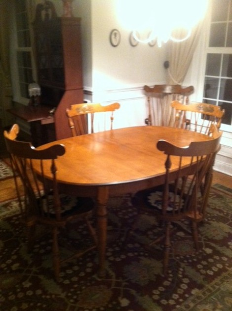 Ethan Allen table 6 chairs $800. We also have a Ethan Allan hutch that matches set 450