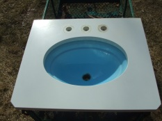 (1) drop in with corian counter top blue sink 26.5 x 22.5 deep . $150