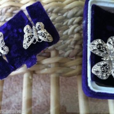 Vintage earrings & pin -they are not diamonds $200