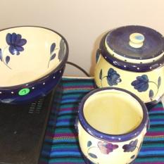 bowls, tea pots, ginger jars $20 each