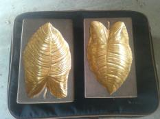 Pair of leafs brown and gold guilded $150