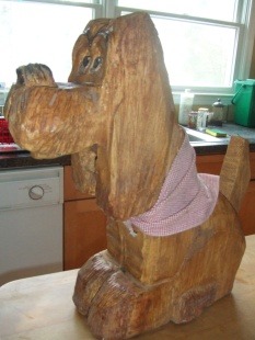 wooden dog from Ethan Allen $95