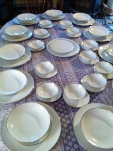 Johann Haviland Bavaria Germany China for 12 white with gold rim 77 pieces $400