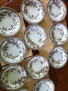 "WEDGWOOD RIMMED SOUP BOWLS, ""LOUISE"" AESTHETIC TRANSFERWARE IRONS $46 per bowl"