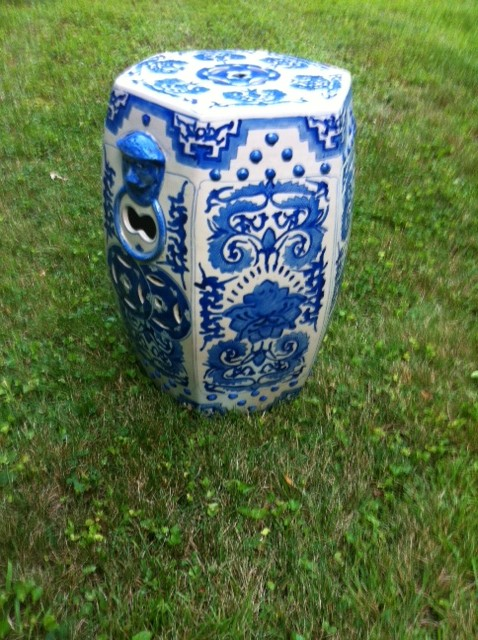 Vintage Chinese Porcelain Hexagon Shaped Garden Stool Painted Blue and White $1120