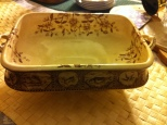 vintage serving dish handles brown and cream W E & C Atlantic