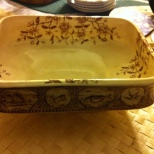 vintage serving dish handles brown and cream W E & C Atlantic
