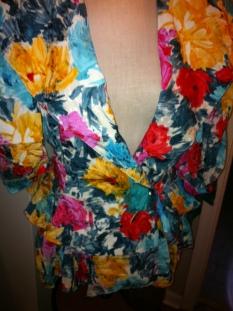 Vintage Emanuel Ungaro Multi-Color Floral Silk Jacket with back peplums $199