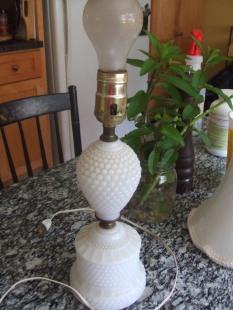 milk glass pair $60