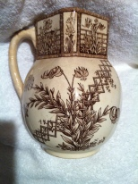"Aesthetic Movement G.W. Turner & Sons Transferware ""Beatrice"" Pitcher $249"