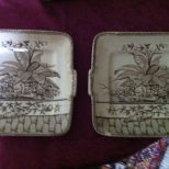 ANTIQUE AESTHETIC TRANSFER GW TURNER & SONS dark brown plates (2 avail.) $99