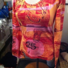 nwt Oilily Top M multi color Orange red pink Mandala long Sleeve lp $110 - $44