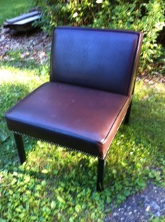 SOLD pair of leather Parson chairs $75 each
