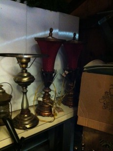 pair of red shade lamps (175)