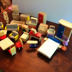 $125 - Lot 30 items of Plan Toys or other brand Wood Dollhouse Furnitur
