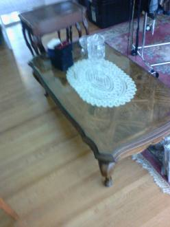 wood table with glass top $175