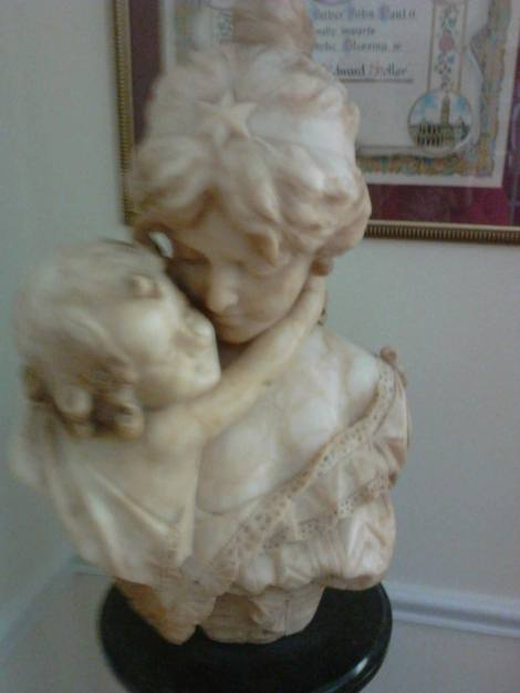 20th Century Alabaster Young mother and child Sculpture $4,000